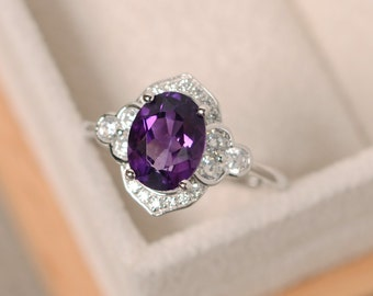Purple amethyst ring, sterling silver, oval cut engagement ring