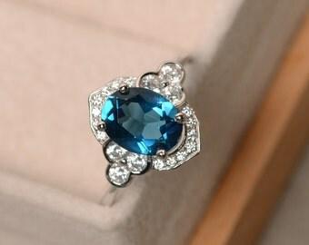 London blue topaz ring, oval cut, blue gemstone, wedding ring, sterling silver