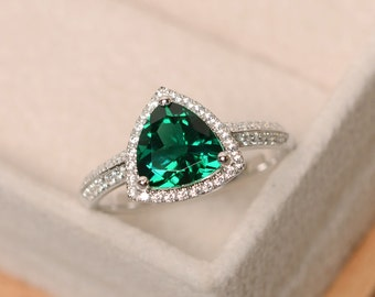Lab emerald ring, trillion cut engagement ring, sterling silver