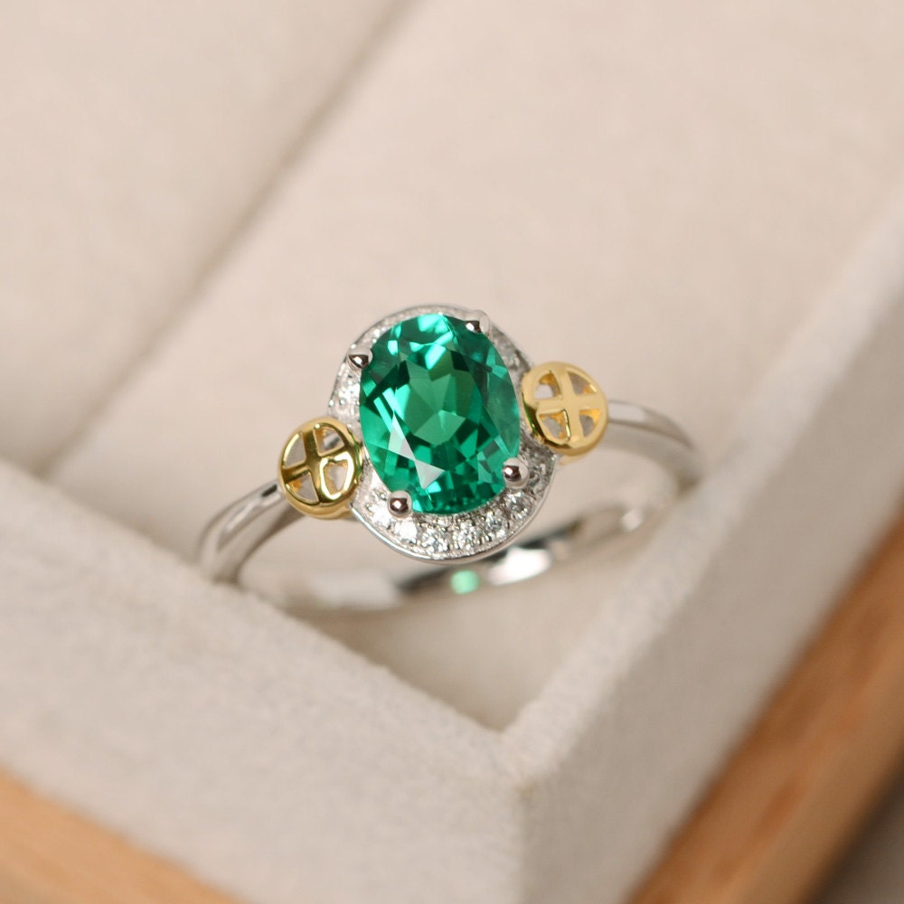emerald ring oval cut engagement sterling silver yellow