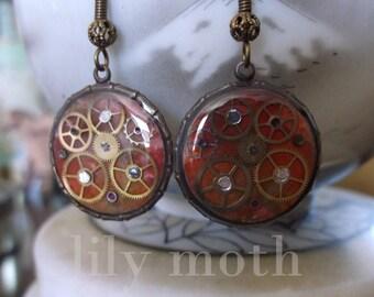 Red Steampunk Earrings