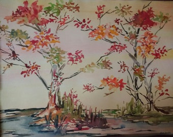 Original watercolor painting without a frame. Autumn.