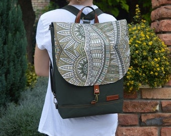 Forest Green Waterproof Backpack, Functional Rucksack, Student Macbook Backpack, Bohemian Crossbody Bag, Women's Laptop Bag, Birthday Gift