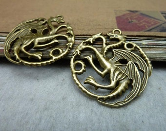 10 Dragon Charms Antique Bronze Tone Three Headed Dragon Circle Connector  - WS7960