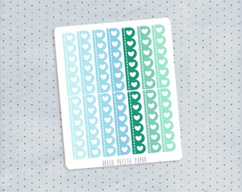 Scalloped heart checklist stickers - blues and greens