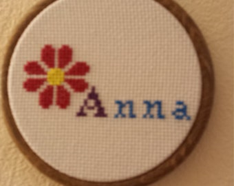 Personalised Cross Stitch Framed in Embroidery Hoop