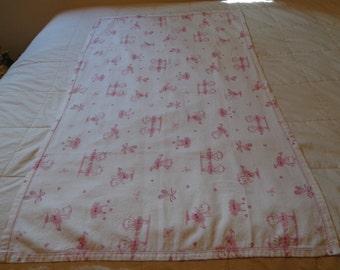 Handmade Flannel Baby Ballerina Bears Blanket