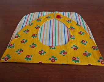 Handmade Colorful Floral and Stripes Reversible Adult Bib