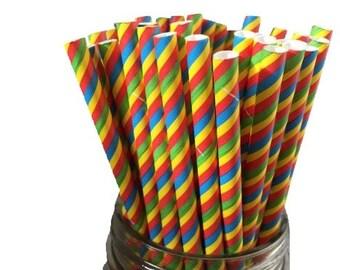 Rainbow Straws, Paper Straws, Party Straws,  Wedding Buffet, Rainbow Theme, Birthday Party, Wedding Shower, Baby Shower,  Set of 10