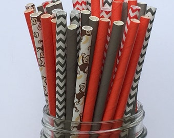 Paper Straws, Sock Monkey Theme, Party Decoration, Assorted Paper Straws, Party Straws, Sock Monkey Theme, Sipping Straws, Grey and Red,  25