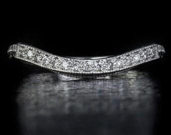 Vintage Diamond Curved Wedding Band Art Decp Matching Set Ring 14K White Gold 7704