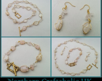 Rose Quartz Jewellery   Semi Precious Gemstones   Rose Gold Plated   Wrapped Jewellery Set