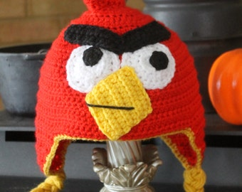 Angry Bird hat// Kids Red Angry bird hat with tail// Kids Angry Bird hat// Crochet Angry Bird hat