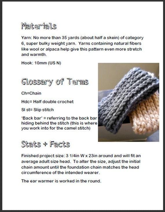Crochet Ear Warmer Pattern Bulky Yarn : Chunky Crochet Ear Warmer Pattern, Ear Warmer Crochet ...