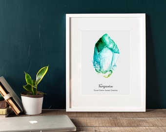 Turquoise wall art, printable, chakra prints, gemstone wall art, Turquoise wall decor, gem print, jewel print, wall decor, birthstone print