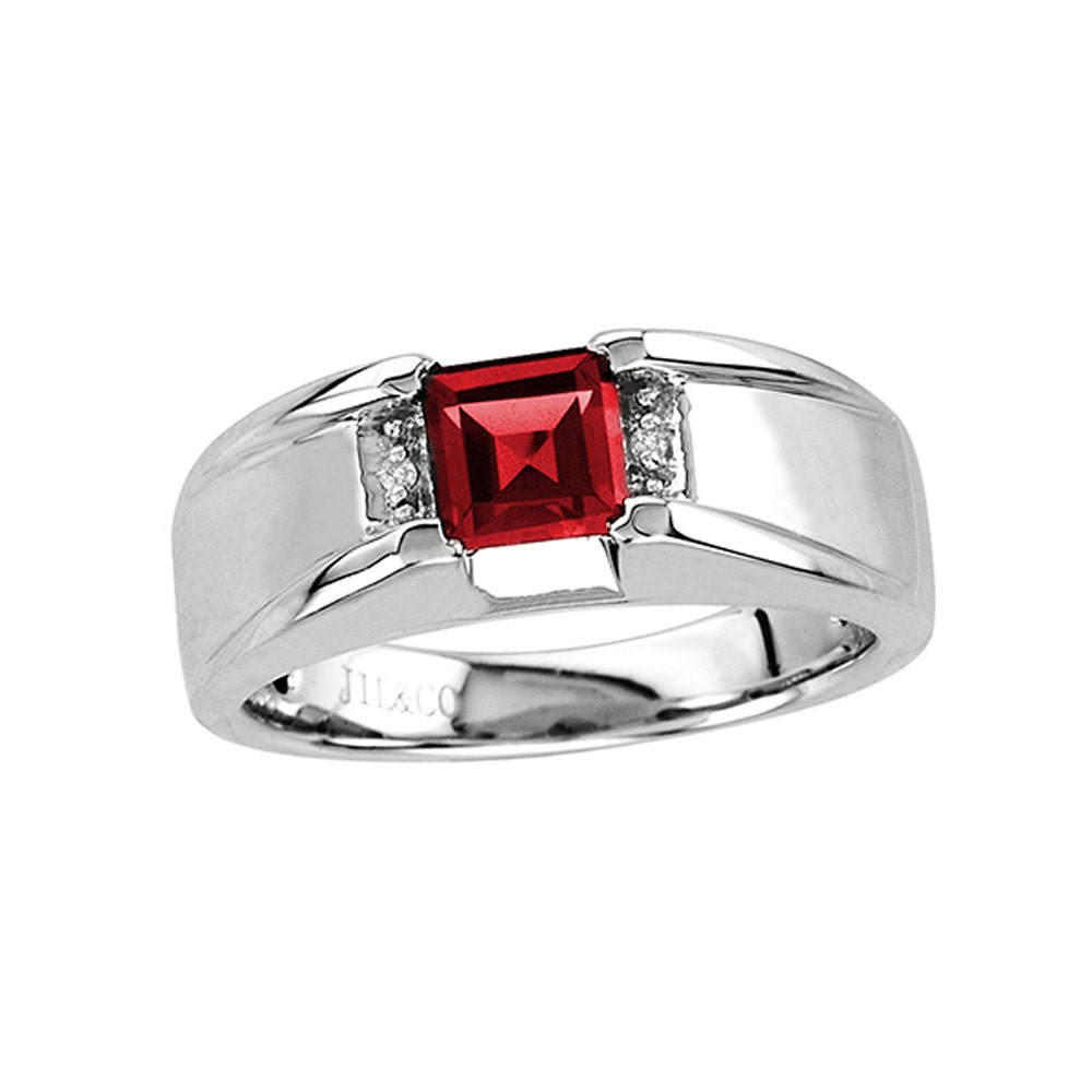 silver gemstone ring square ruby ring s by