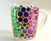 Hand painted Bubbles Mug Cup colorful mug Mosaic Cup Coloured Bubbles Mug bubbles mug bright mug multi colored mug Valentines Day Gift