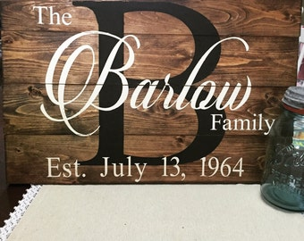 Last name sign, wooden last name sign, custom name sign