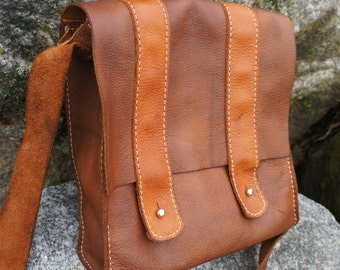 Johnnagold- Leather Rustic Satchel Small Soft Leather Bag Brown Crossbody Bag Purse Rustic