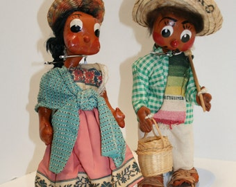 SALE: Vintage souvenir hand made dolls; Acapulco oil cloth dolls; 1940's - 1960's Mexican figures