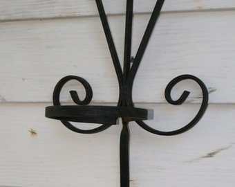 Vintage wrought iron plant hanger; garden decor; pot holder; plant display