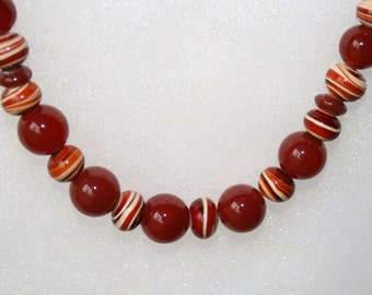 OOAK carnelian necklace & earrings; hand crafted carnelian set; carnelians and hand worked glass beads; unique jewelry