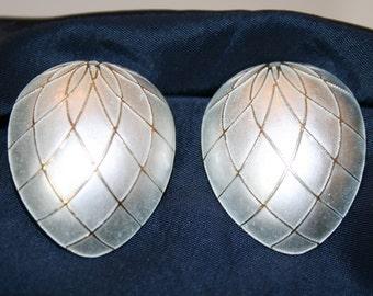SALE: Sterling Silver/Gold Vermeil Museum of Fine Arts Earrings; Vintage Enamel post earrings; MFA Boston