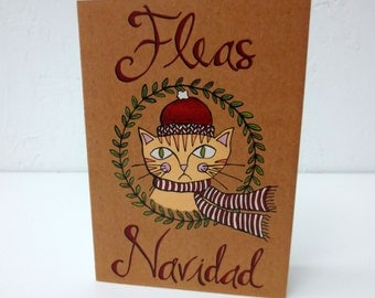 Fleas Navidad Christmas Card | Funny Christmas Card for Cat Lovers, Spanish Holiday Card, Feliz Navidad Greeting Card