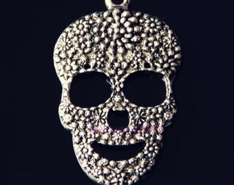 Mexican Sugar Skull Charm 47mm by 29mm Day of the Dead Findings Jewelry Making Supplies Charm Flowers (ID CH-25)