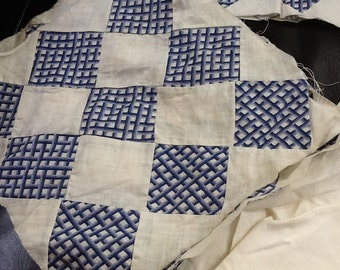 1940's Blue and White Checked 9 Square Quilt Top 58x41 with Extra Quilt Pieces-Great Condition!