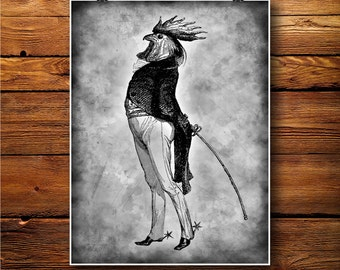 Victorian Art, Humour Print, Rooster Man Decor, Vintage poster  BW436