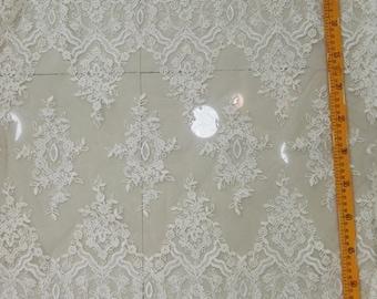 Light ivory bridal lace fabric, alencon lace fabric
