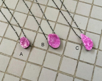 Two Tone Sterling Silver Chain Necklace with a Floating Natural Pink Cobalto Calcite Druzy Pendant, Floating Necklace