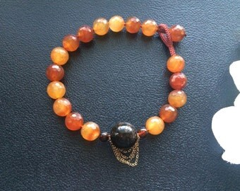 Chunky Natural Carnelian, Old Natural Amber and Gold Filled Chain Asymmetrical Design Beaded Necklace