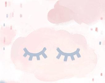 Sweet dreams print - kids nursery print, custom name print, girls nursery print, pastel print, cloud print,
