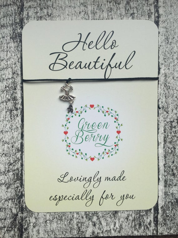 "Ballerina charm String Bracelet on ""Hello Beautiful"" quote card madebygreenberry wish bracelet"