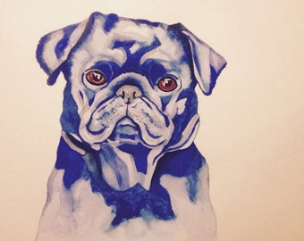 Original unframed watercolour painting of a Pug dog
