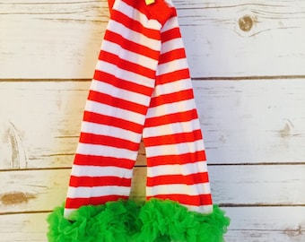Cotton Baby Leg Warmer And Chiffon Tuffles - Candycane Red And White Stripes With Green Ruffle