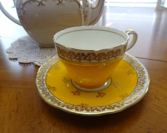 Aynsley Vintage Cup Saucer Bright Yellow Number C880