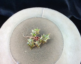 Vintage Green Enameled Red Rhinestone Leaf Pin