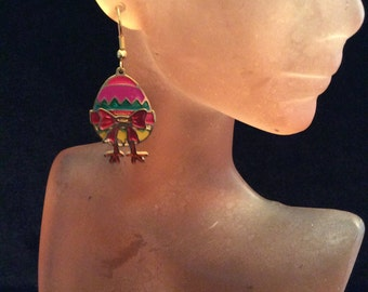 Vintage Colorful Enameled Easter Egg With Bow & Feet Pierced Dangle Earrings