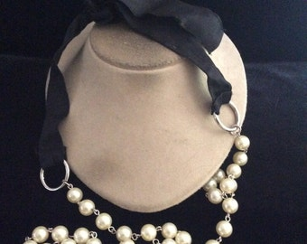 Vintage Faux Pearl & Black Ribbon Belt