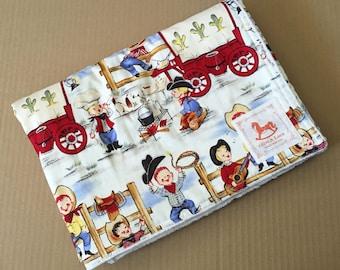 Little Cowboy Baby Blanket | Baby Quilt | Stroller Blanket | Ivory Minky Back