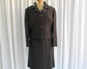 Vintage Boxy Suit Chocolate Brown Wool Blend Skirt & Jacket 1960's  #20045