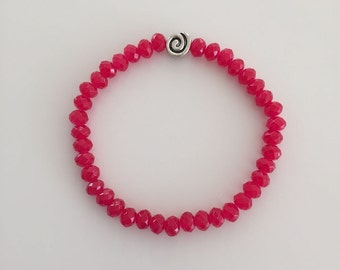 Beaded Bracelet, Stretchy, Faceted Bright Red Crystal 6mm Beads