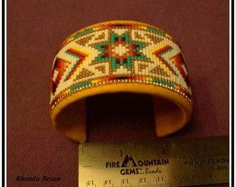 hand beaded cuff bracelet on elk hide Native American style design