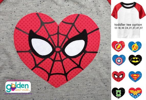 Valentine's Day Superhero Heart Tee, Batman, Superman, Spiderman, Ironman, Green Lantern