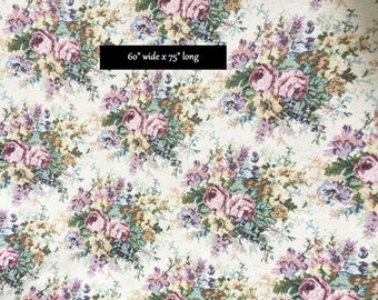 """Roses Tapestry Fabric Victorian Romantic Prairie Cottage Chic Upholstery Yardage UnUsed Floral Romance 60"""" x 75"""""""