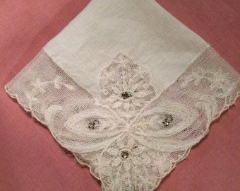 Vintage Rhinestone and Lace Wedding Hanky, 1940s