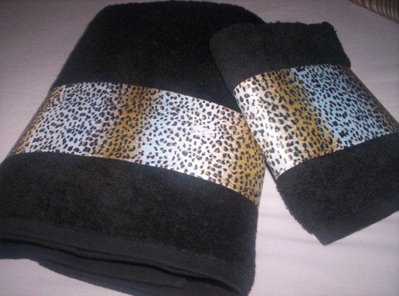 Decorative Bath Towel Set Leopard Print Trim